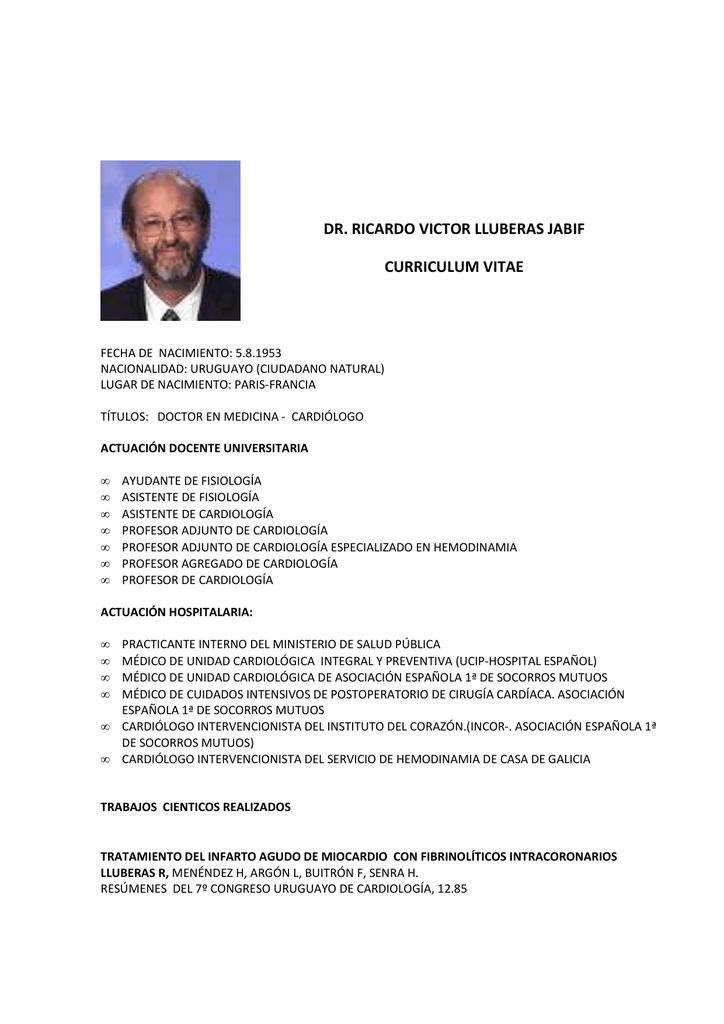 Curriculum Dr. Ricardo Lluberas