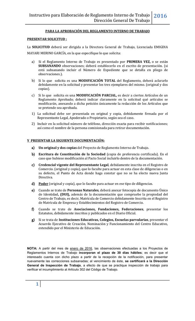 Instructivo Para Elaboración De Reglamento Interno De Trabajo