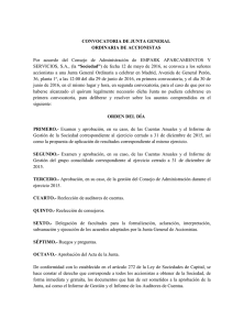CONVOCATORIA DE JUNTA GENERAL ORDINARIA DE