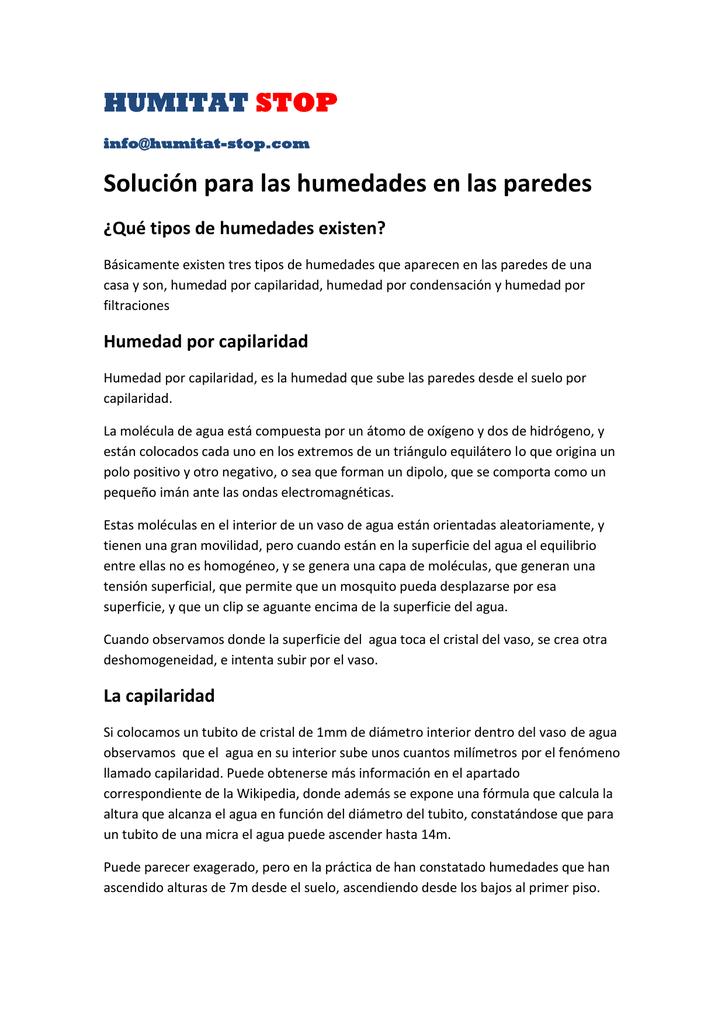 HUMITAT STOP Solución para las humedades en las paredes