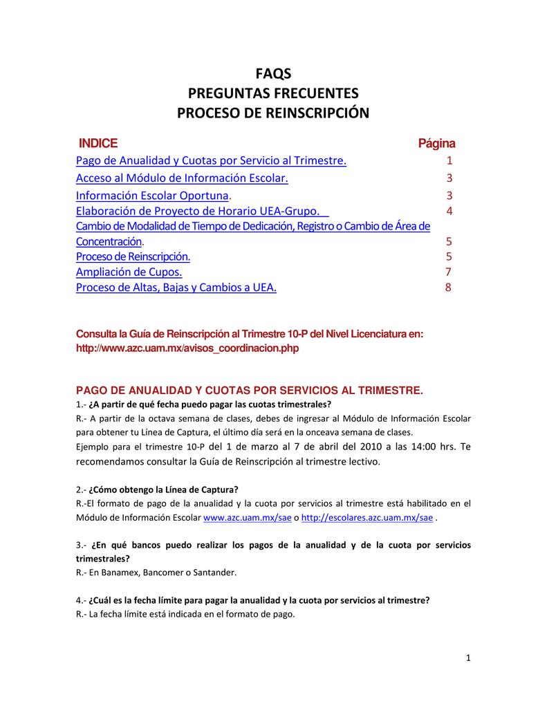 Faqs Preguntas Frecuentes Proceso De Reinscripción