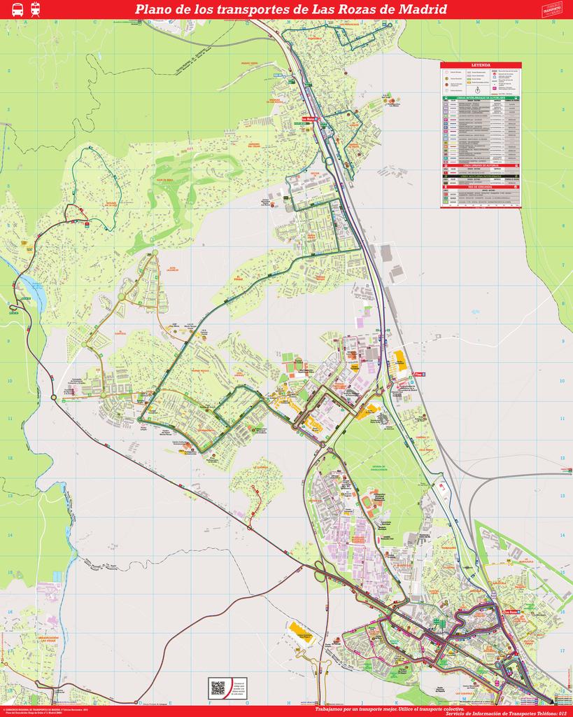 Las Rozas Madrid Mapa.Plano De Los Transportes De Las Rozas De Madrid