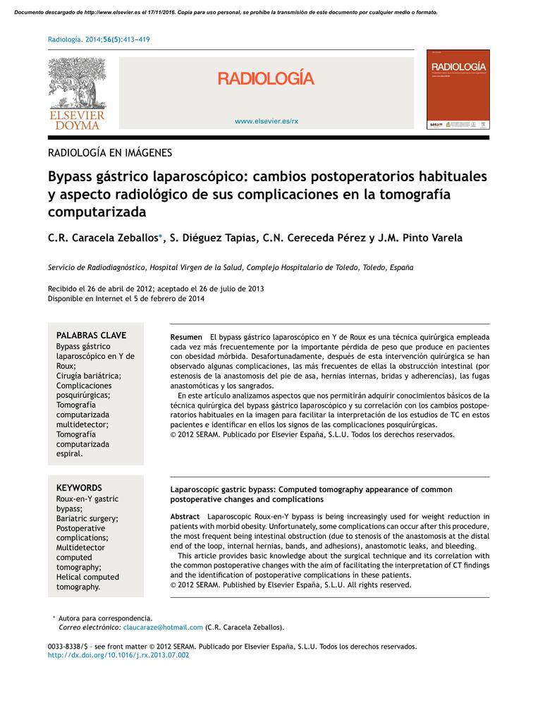 Bypass gástrico laparoscópico: cambios postoperatorios habituales