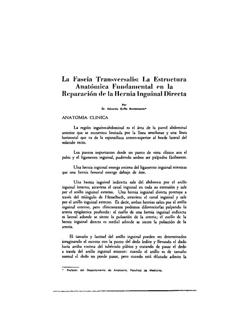 La Fascia Transversalis: La Estructura Anatómica Fundamental en