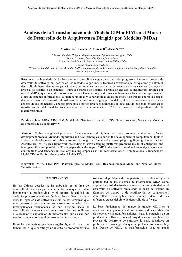 Análisis de la Transformación de Modelo CIM a PIM en el Marco de