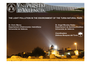 the light pollution in the environment of the turia