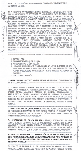 2.- DECLARATORIA DE QUÓRUM LEGAL.