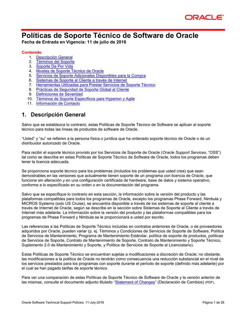 Políticas de Soporte Técnico de Software de Oracle