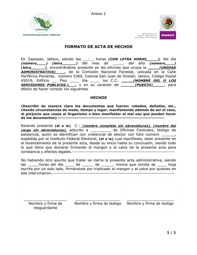 Formato De Acta De Hechos