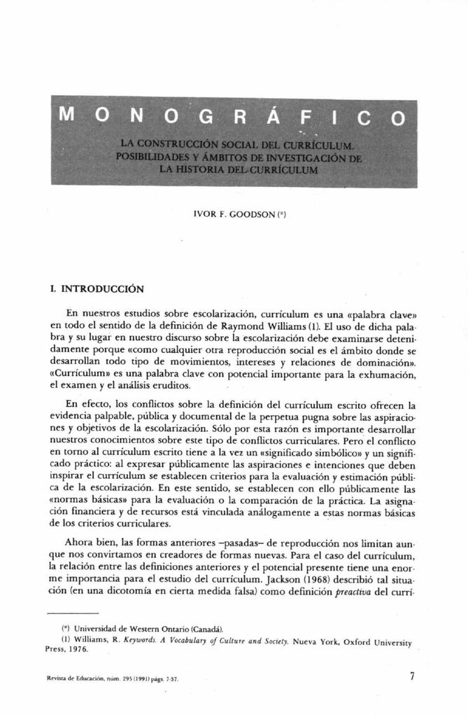 LA CONSTRUCCIÓN SOCIAL DEL CURRÍCULUM