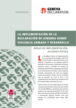 Implementing the Geneva Declaration on Armed Violence and
