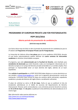 PROGRAMME OF EUROPEAN PRIVATE LAW FOR