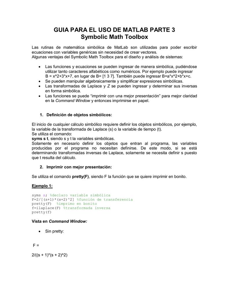 Guia Para El Uso De Matlab Parte 3 Symbolic Math Toolbox
