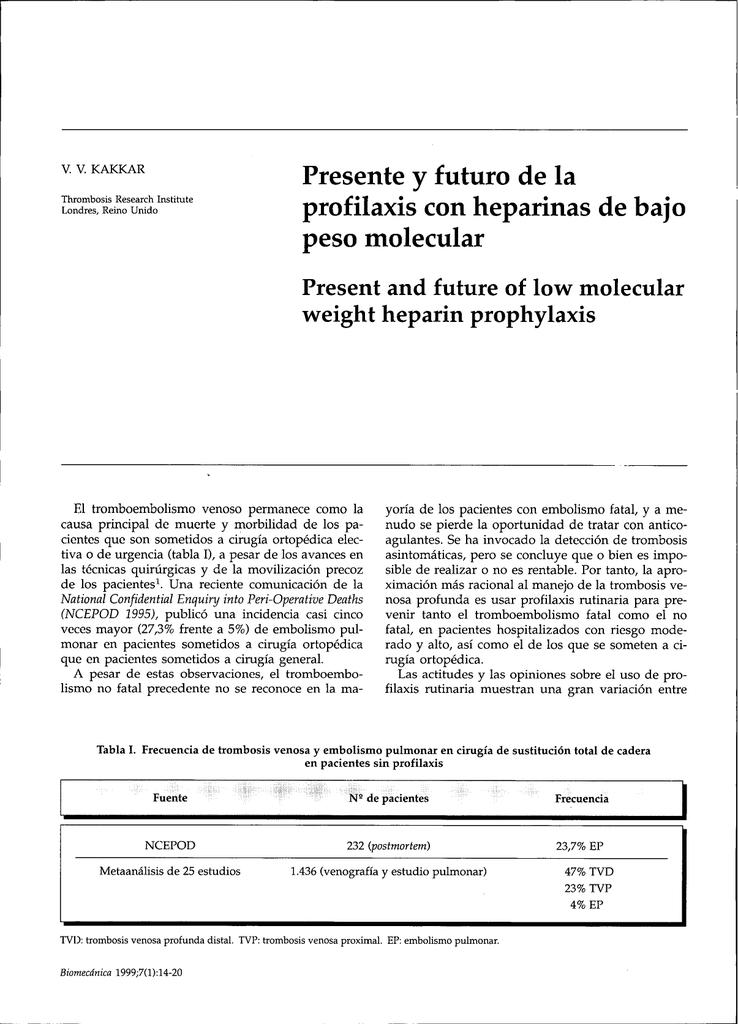 Dvt peso bajo heparina profilaxis