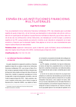 españa en las instituciones financieras multilaterales