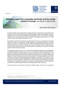 National support for renewable electricity and the single market in