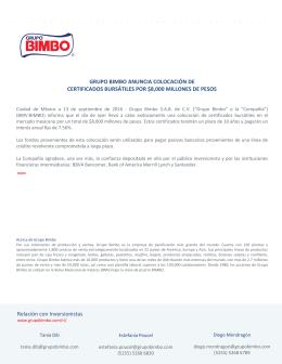 Reporte anual de grupo bimbo sa de cv grupo bimbo anuncia colocacin de certificados ccuart Image collections