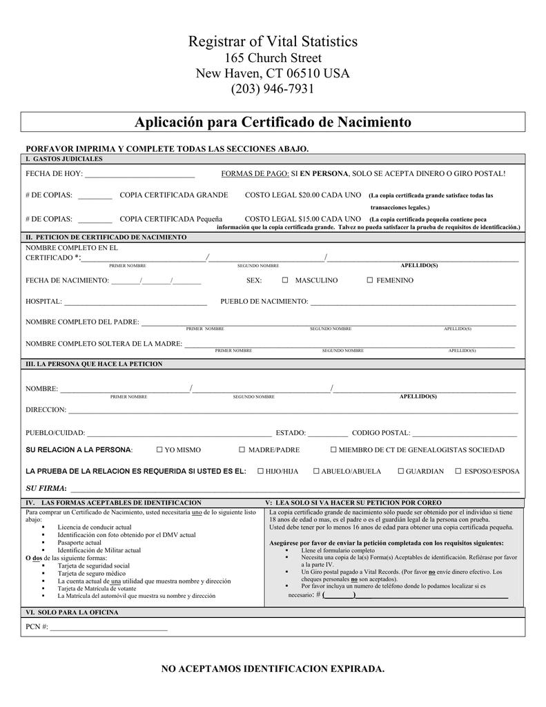 Aplicación para Certificado de Nacimiento