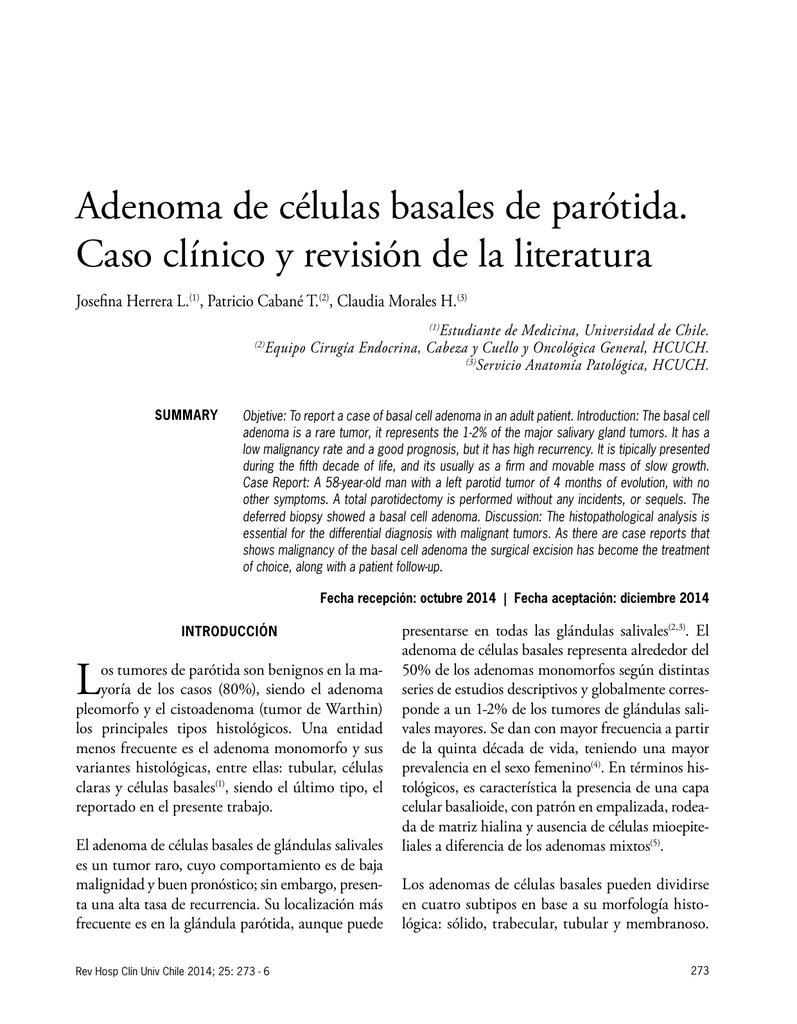 Adenoma de células basales de parótida. Caso clínico y revisión de