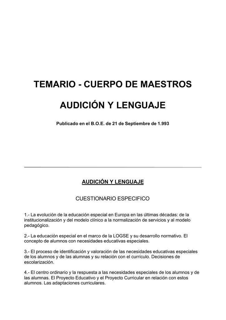 TEMARIO - CUERPO DE MAESTROS AUDICIÓN Y LENGUAJE