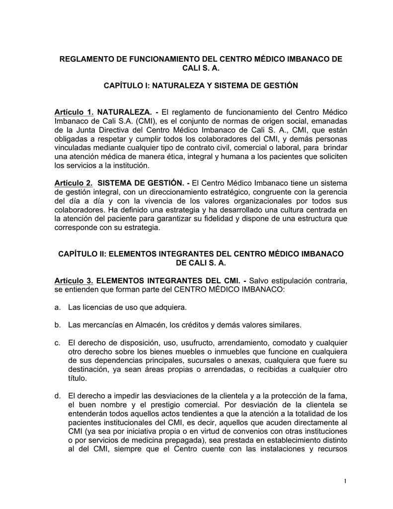 1 Reglamento De Funcionamiento Del Centro Médico