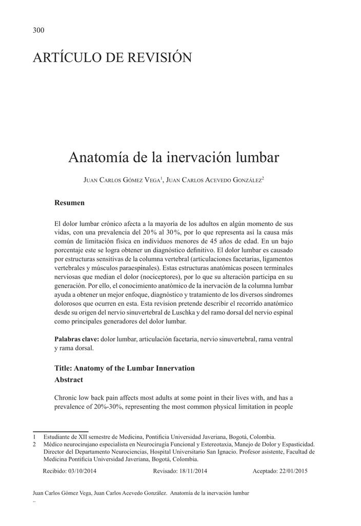 Anatomía de la inervación lumbar - Pontificia Universidad Javeriana