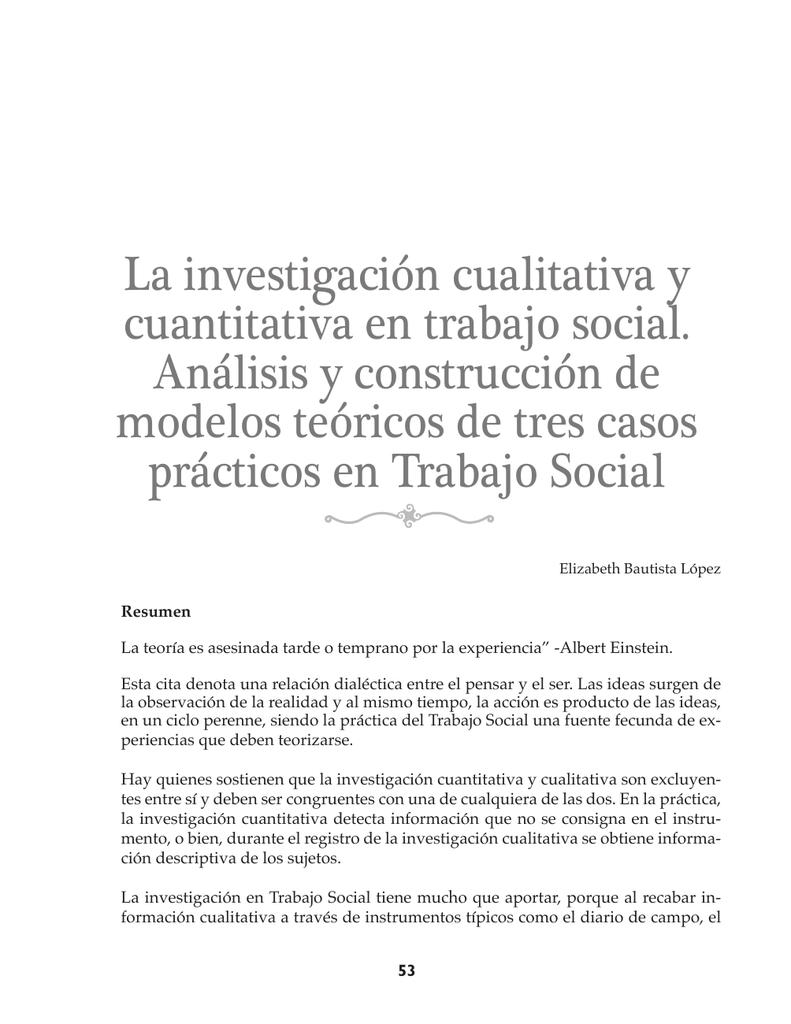 La investigación cualitativa y cuantitativa en trabajo social. Análisis