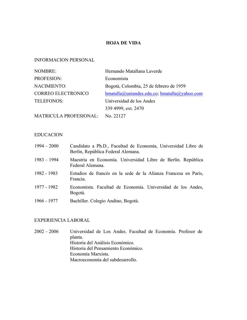 Curriculum Vitae - Universidad de los Andes