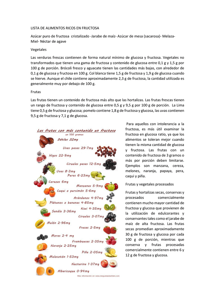 Verduras con fructosa y sorbitol