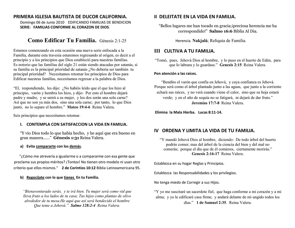 Como Edificar Tu Familia Génesis 21 25