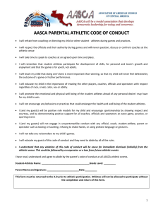 AASCA PARENTAL ATHLETIC CODE OF CONDUCT
