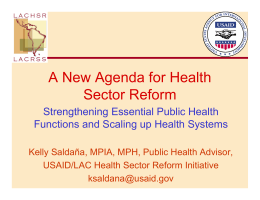 A New Agenda for Health Sector Reform