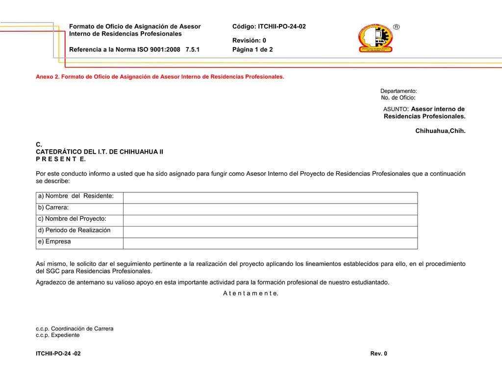 Oficio de Asignación de Asesor Interno