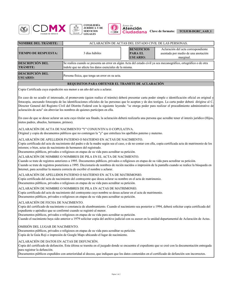 Clave de formato: ACLARACIÓN DE ACTA DE NACIMIENTO \