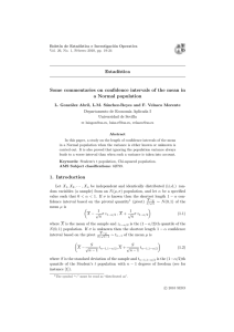 Estad´ıstica Some commentaries on confidence intervals of