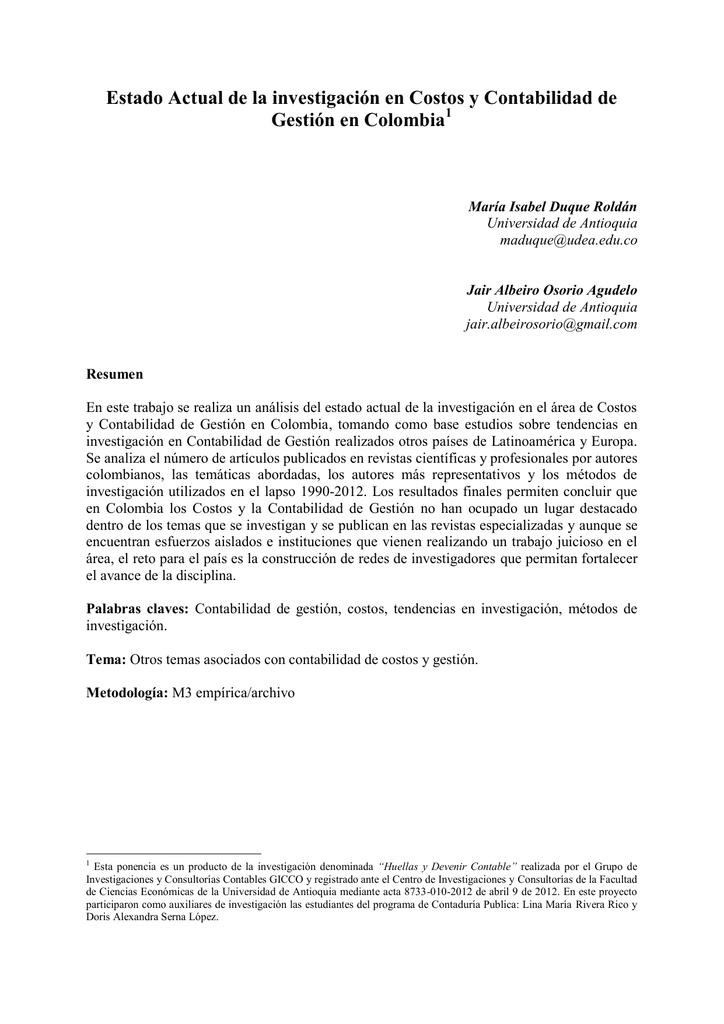 Estado Actual de la investigación en Costos y Contabilidad