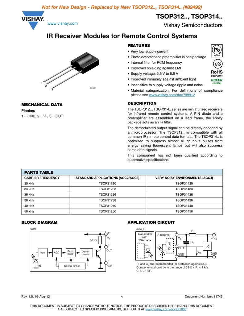 Tsop312 Tsop314 Ir Receiver Modules For Remote Control Circuit Diagram