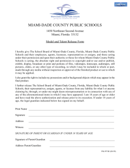 Model release form - Miami-Dade County Public Schools