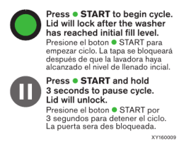 Press •START to begin cycle. Lid will lock after the washer has