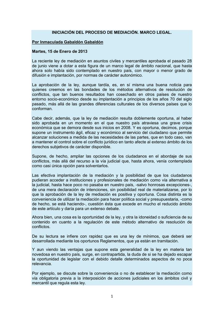 1 INICIACIÓN DEL PROCESO DE MEDIACIÓN. MARCO LEGAL