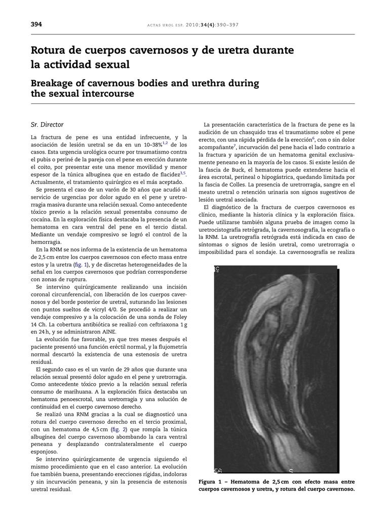 ruptura de la vena dorsal profunda