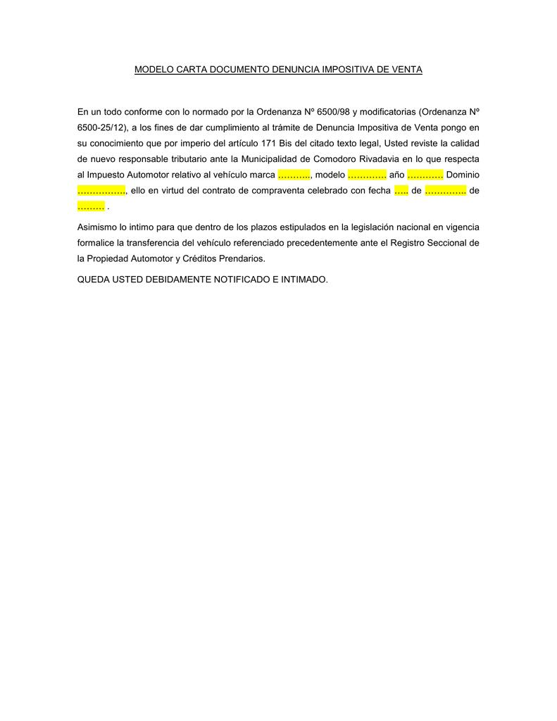 Modelo Carta Documento Denuncia Impositiva De