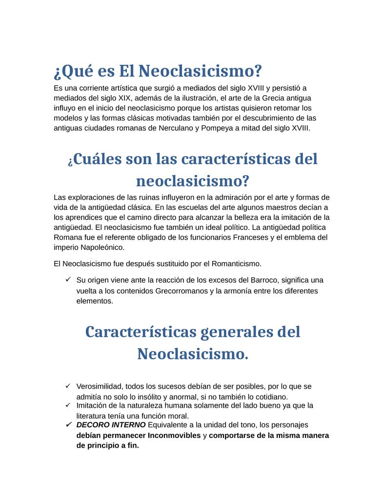Qué es El Neoclasicismo?
