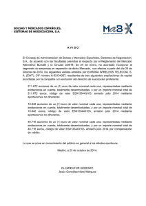 23/10/2014 Aviso: EURONA WIRELESS TELECOM, S.A.