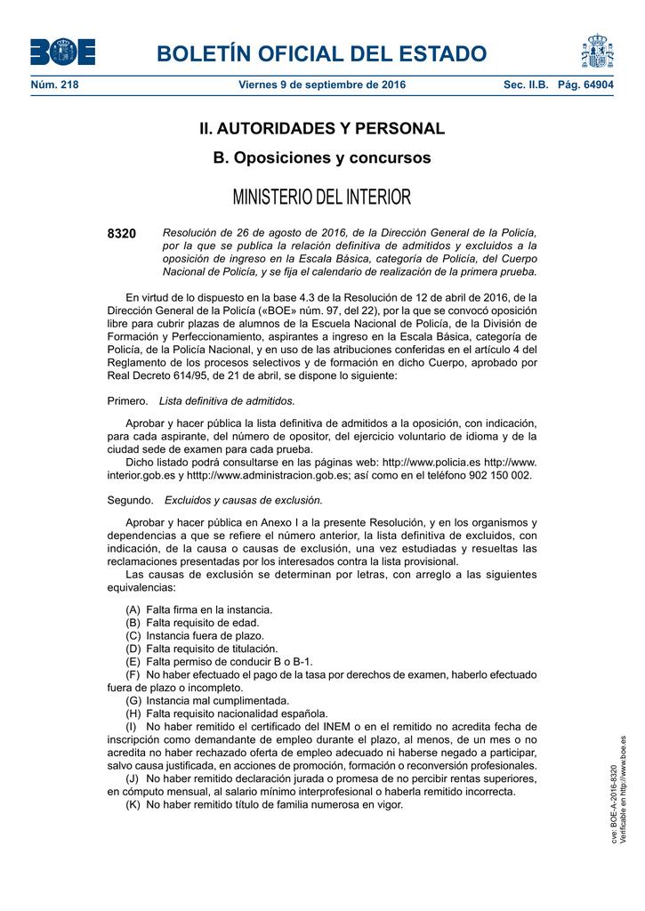 Resolución de 26 de agosto de 2016, de la Dirección General