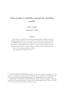 Some results on stability concepts for matching models - E