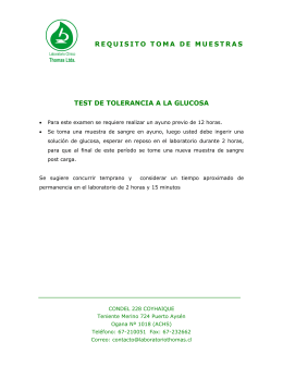 requisito toma de muestras test de tolerancia a la glucosa
