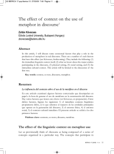 The effect of context on the use of metaphor in discourse1