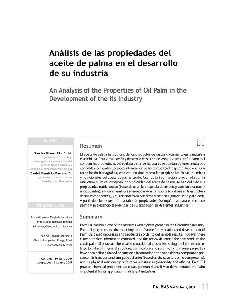 Análisis de las propiedades del aceite de palma en el