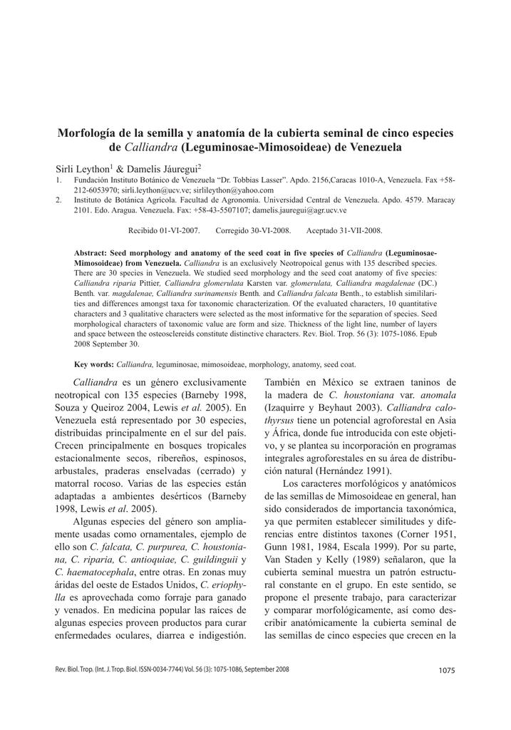 Morfología de la semilla y anatomía de la cubierta seminal de cinco